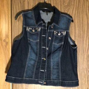 Women's petite XL denim vest